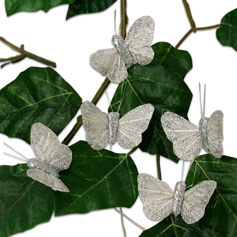 "1-3/4"" Silver Sparkling Wedding Butterfly"