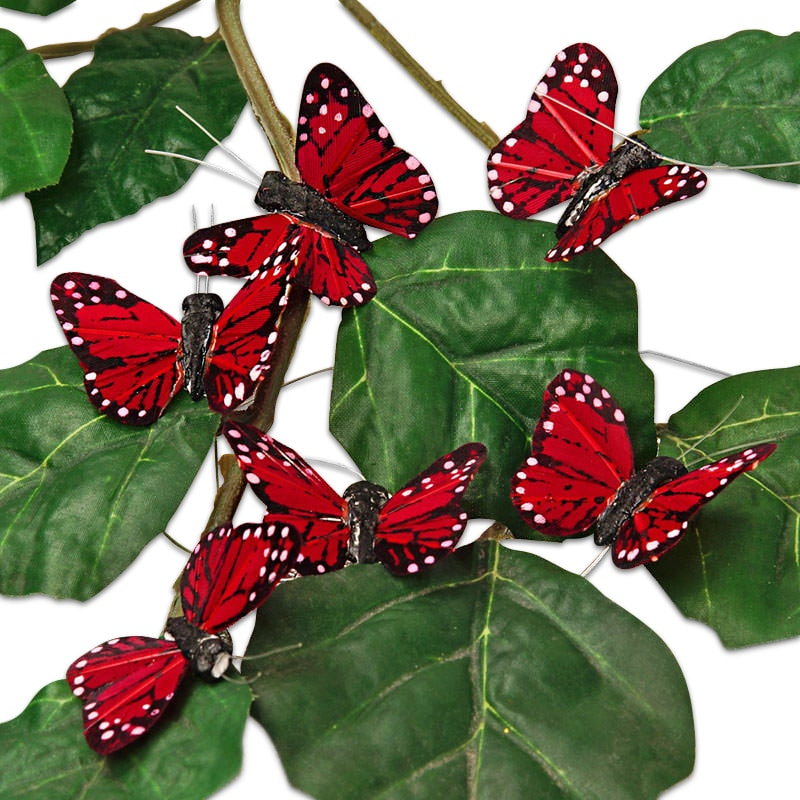 "1-3/4"" Burgundy Feather Monarch Butterfly"