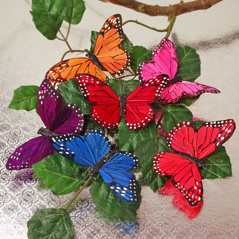 "5-1/4"" Multi Assorted Feather Monarch Butterfly"