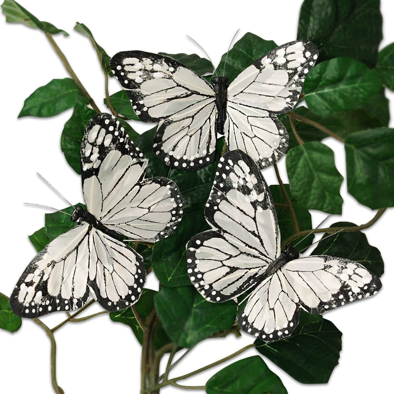 "5-1/4"" White/Black Feather Monarch Butterfly"