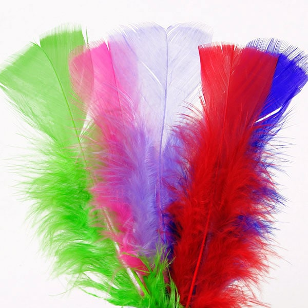 Colored flat coverlet turkey feathers paper mart for Where can i buy feathers for crafts