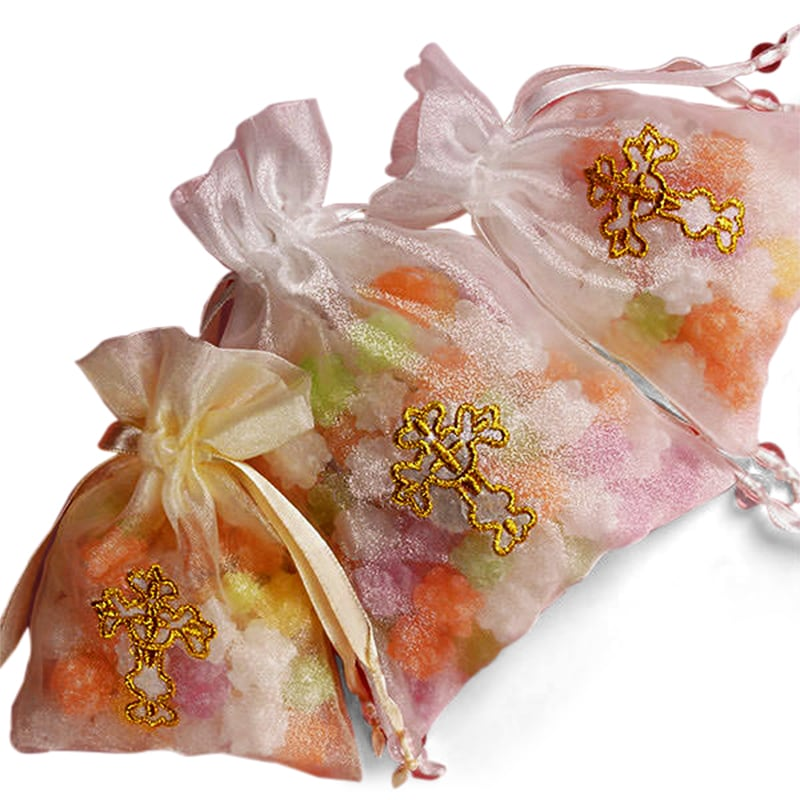 Golden Cross Embroidered Organza Bags