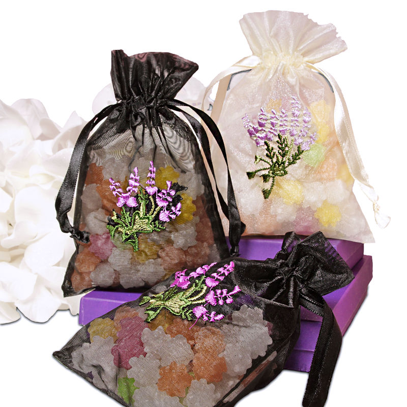 Lavender Flower Embroidered Organza Bags