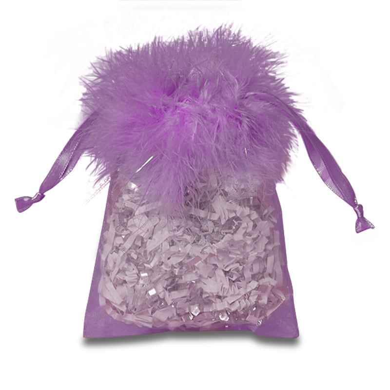 Feather Top Organza Bags