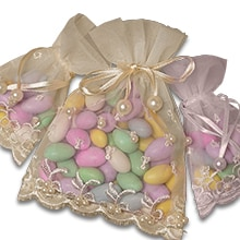 Fl Trimmed Heart Bags Embroidered Pearl Organza