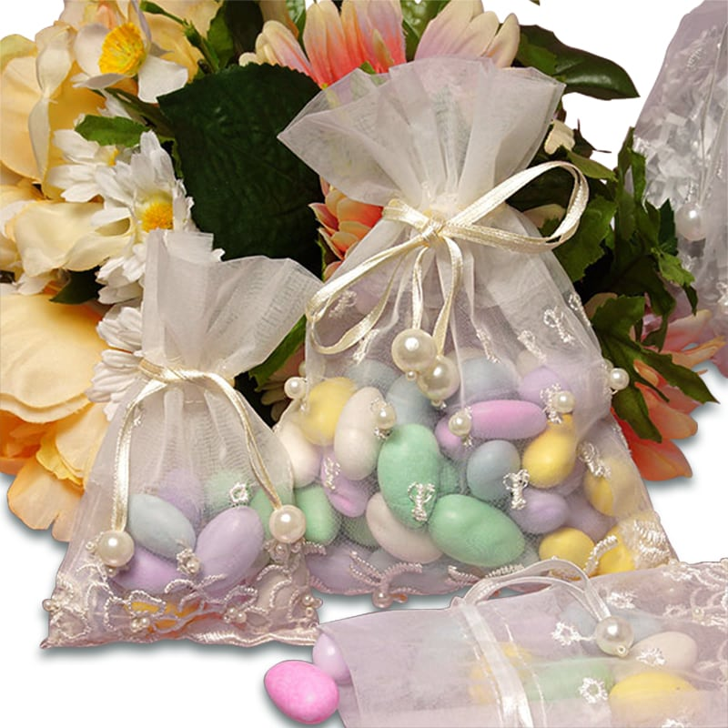 Embroidered Pearl Organza Bags