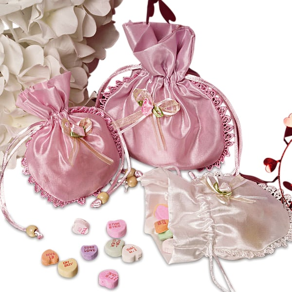 Enchanted Flower Round Satin Pouches