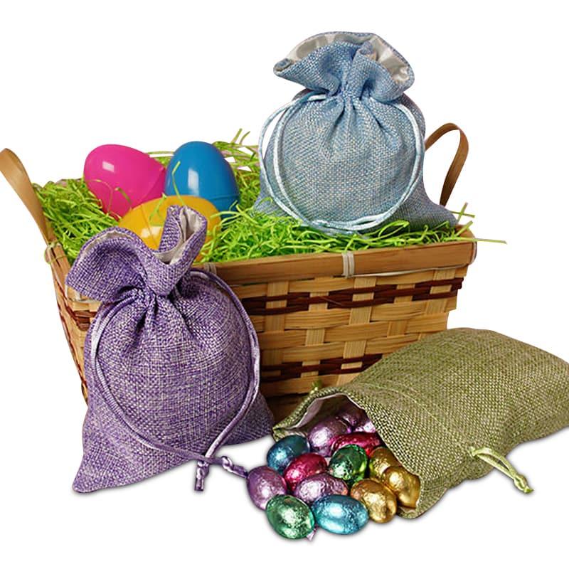 Burlap Bags Pouches Cotton Drawstring Bags Jute Muslin Bags
