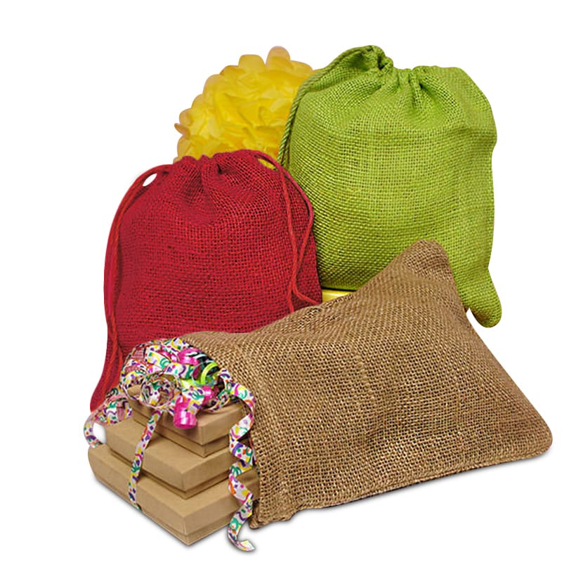 Colored Rough Jute Pouches