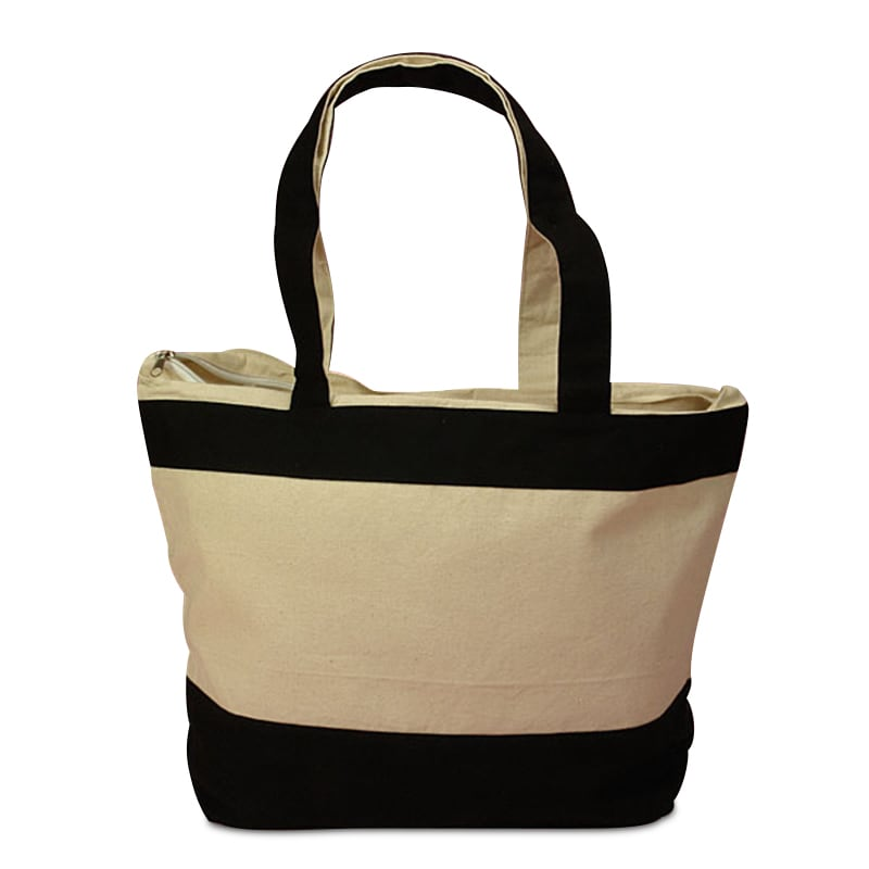 Zippered Heavy-Duty Canvas Tote Bag