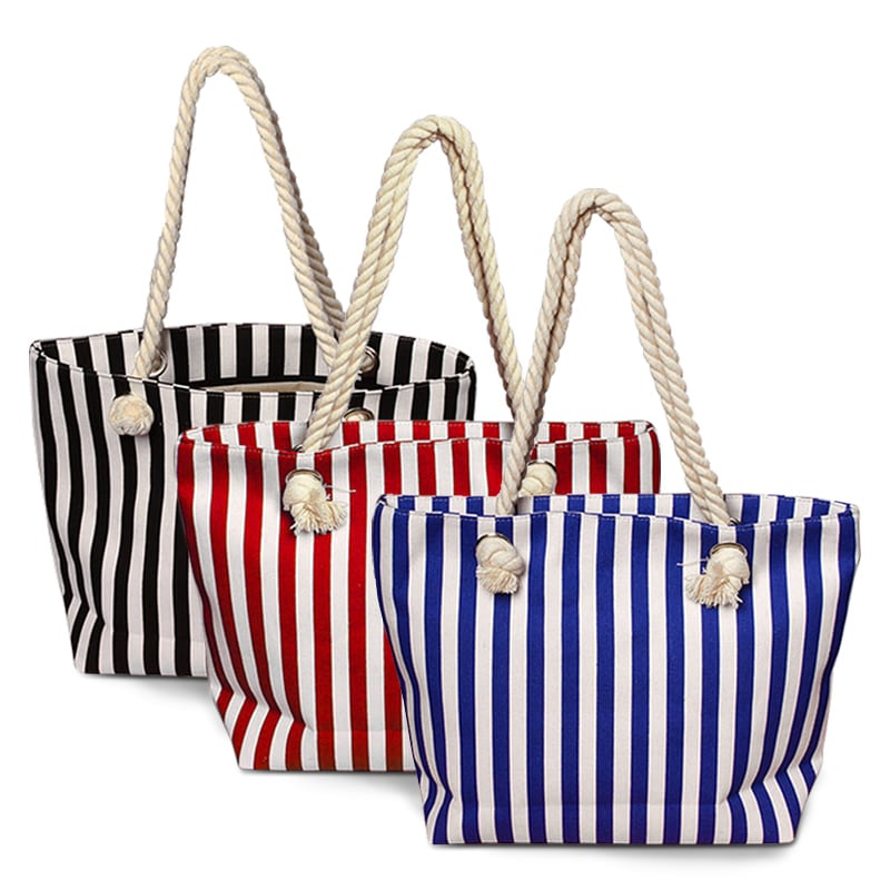 Canvas Fashion Totes With Vertical Stripes