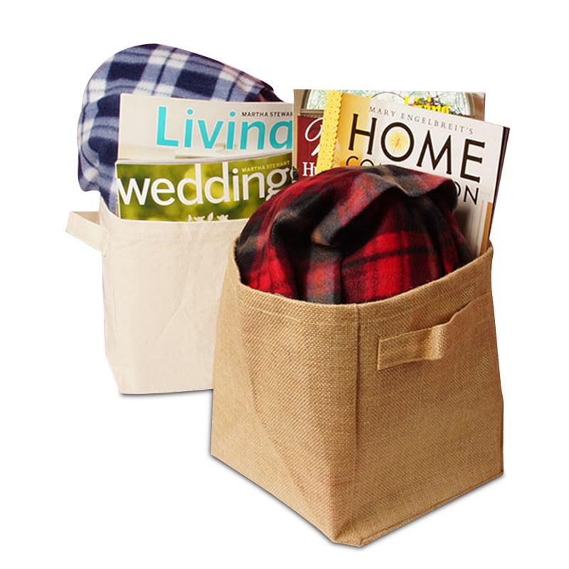Burlap/Canvas Storage Baskets