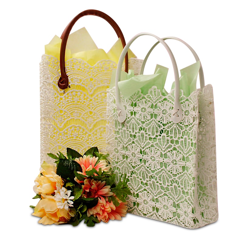 White Crochet Lace Totes