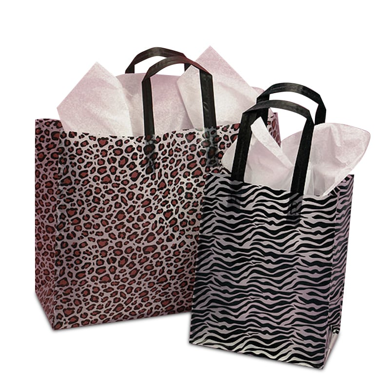 Animal Print Tri Fold Plastic Handle Bags