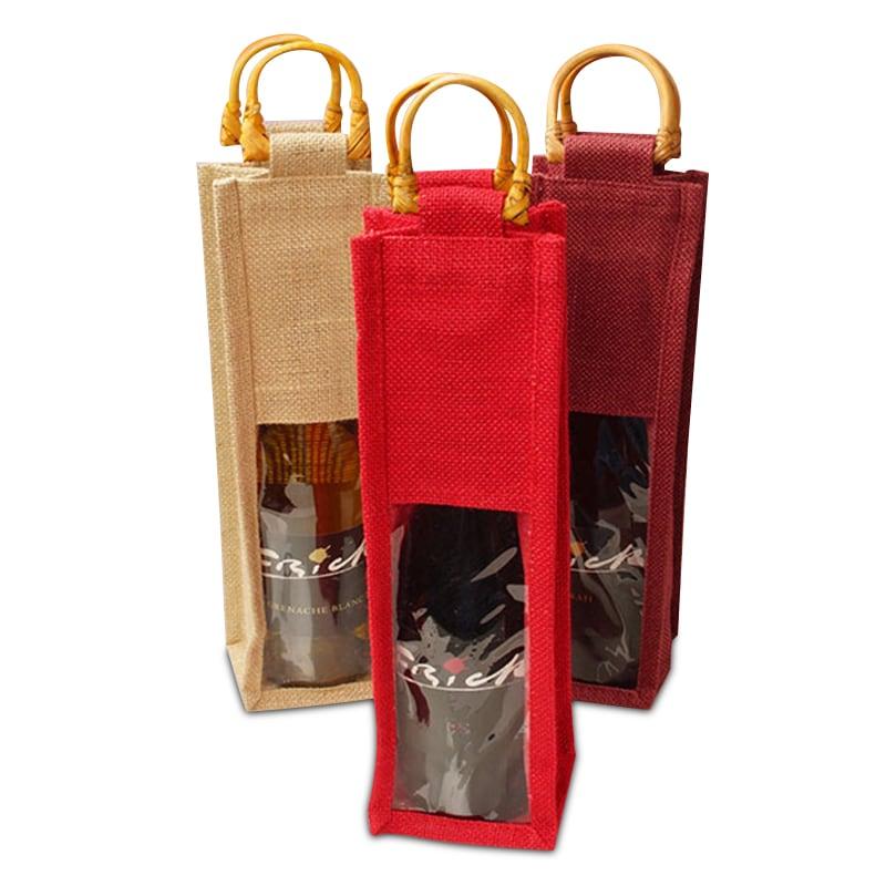Jute Wine Bags With Wooden Handles
