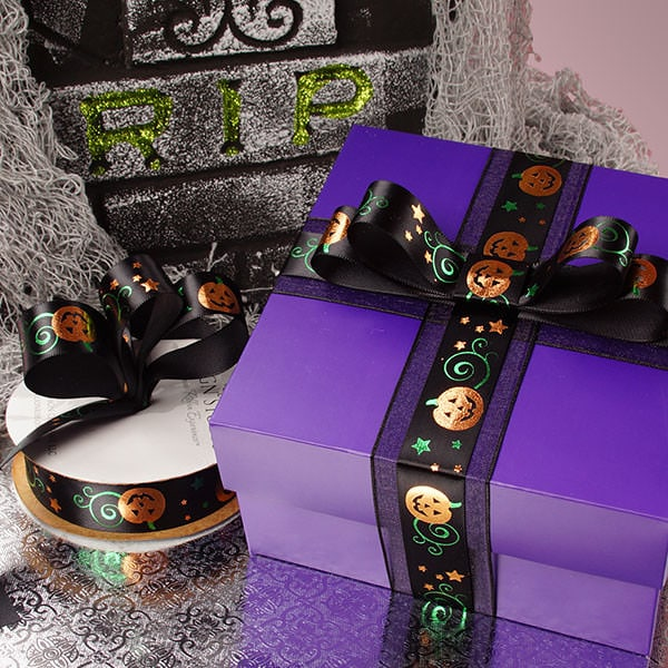 Black Pumpkin Vine Halloween Ribbon