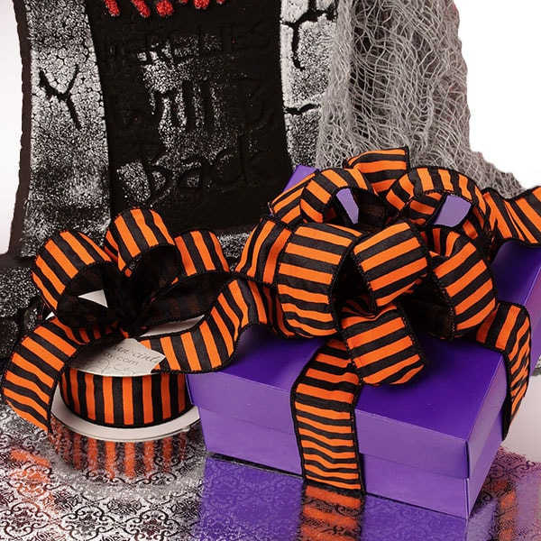Halloween Striped Wired Ribbon