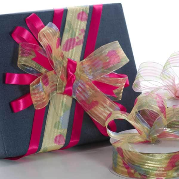 Rosy Striped Sheer Wired Ribbon