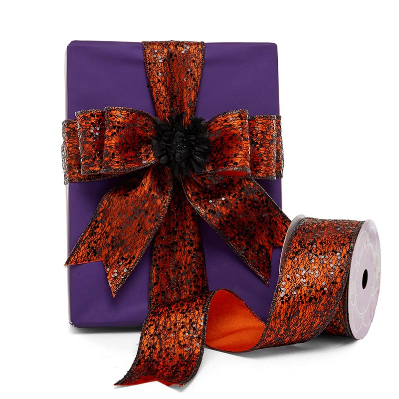 Glitter Black Web On Orange Wired Ribbon