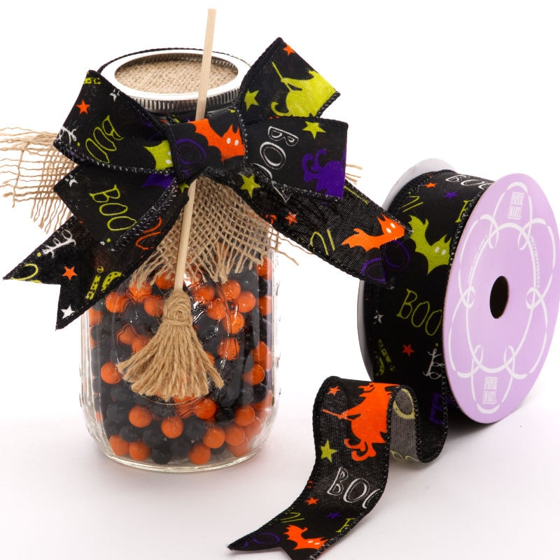 Black Boo Halloween Wired Ribbon