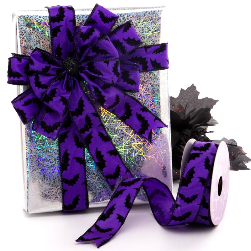 Purple Haze Bats Satin Wired Ribbon