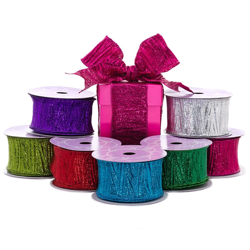 Vertical Crepe Metallic Wired Ribbon