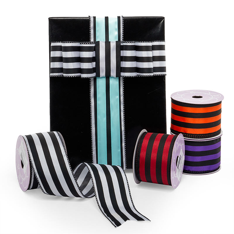 Carnival Stripe Wired Ribbon