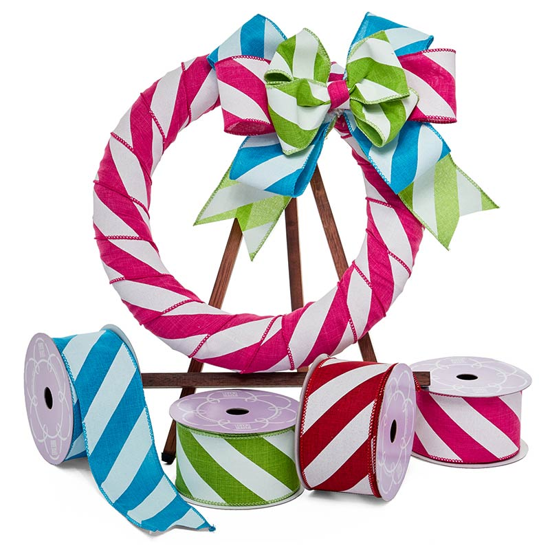 Wide Diagonal Stripes Fabric Wired Ribbon
