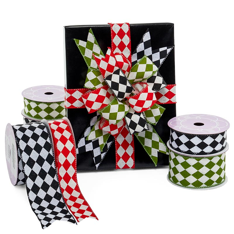Harlequin Fabric Wired Ribbon
