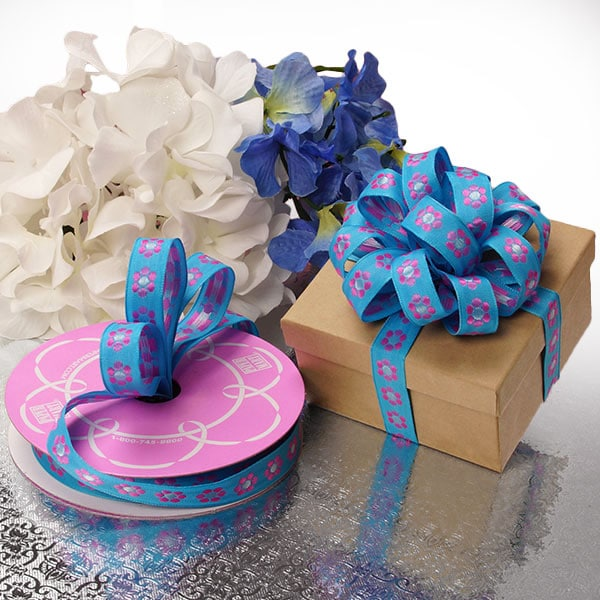 Pink/Blue Single Flower Pattern Ribbon