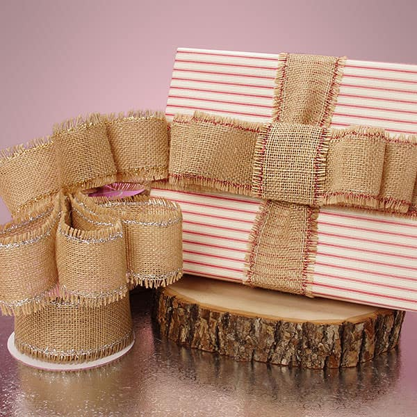 Metallic Trimmed Fine Burlap Ribbon