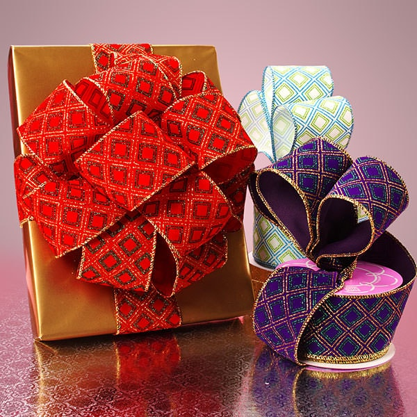 Glitter Squares Flocked Ribbon