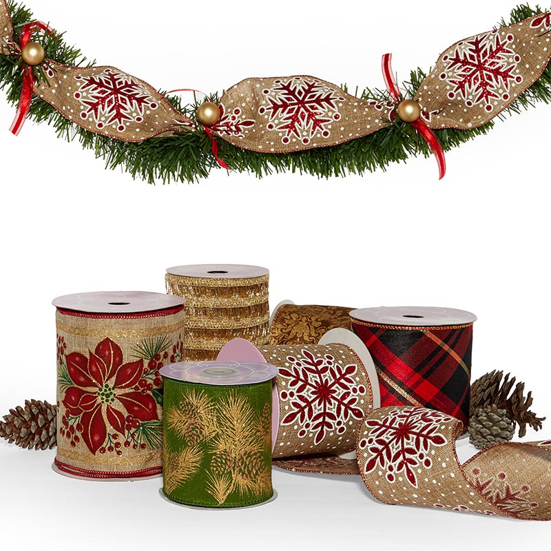 Extra Wide Christmas Wired Ribbon