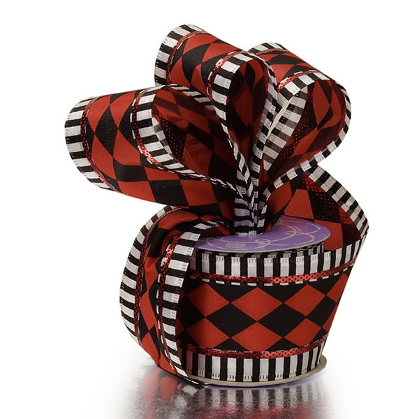Harlequin Striped Wired Ribbon
