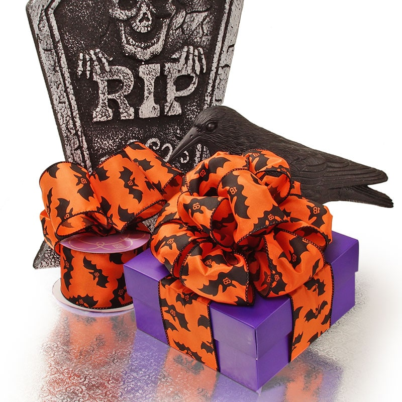 Orange Bats Halloween Satin Wired Ribbon
