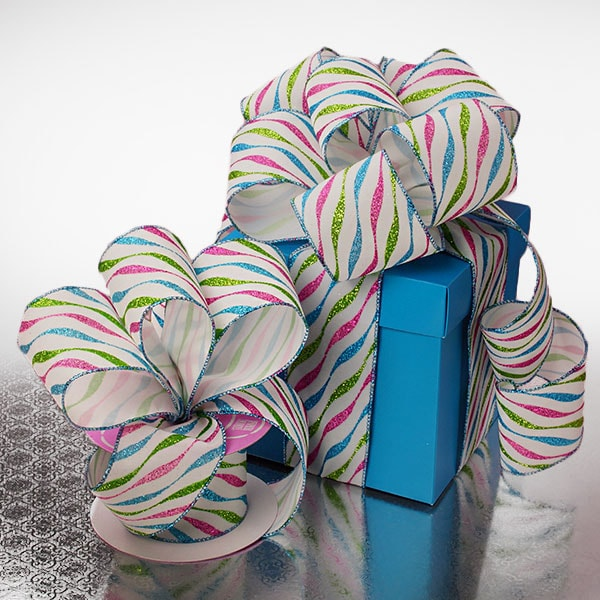 Multi Wave Party Flocked Ribbon