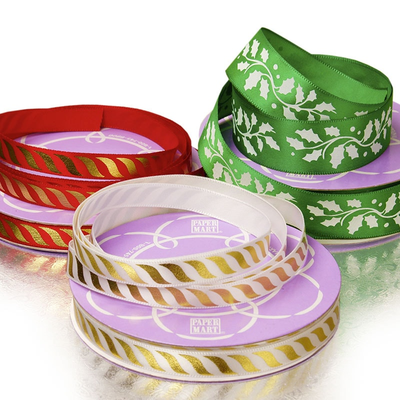 Narrow Christmas Patterns Satin Ribbon