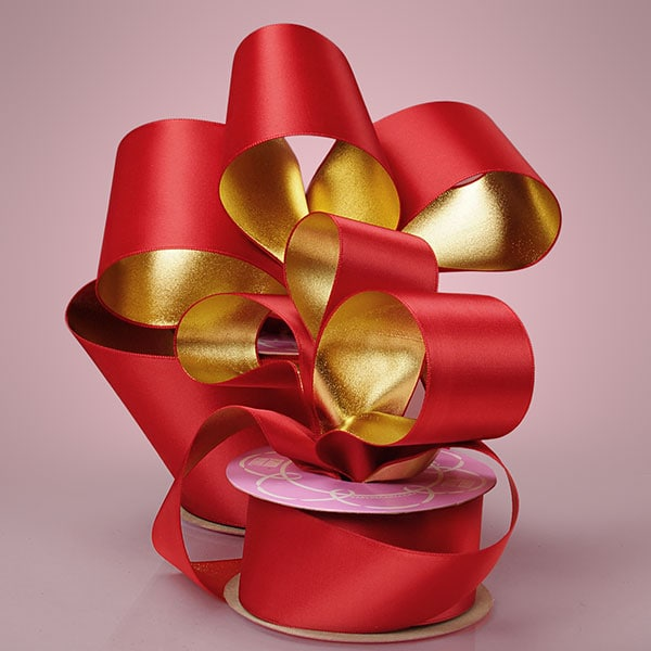Red/Gold Satin Gold Ribbon