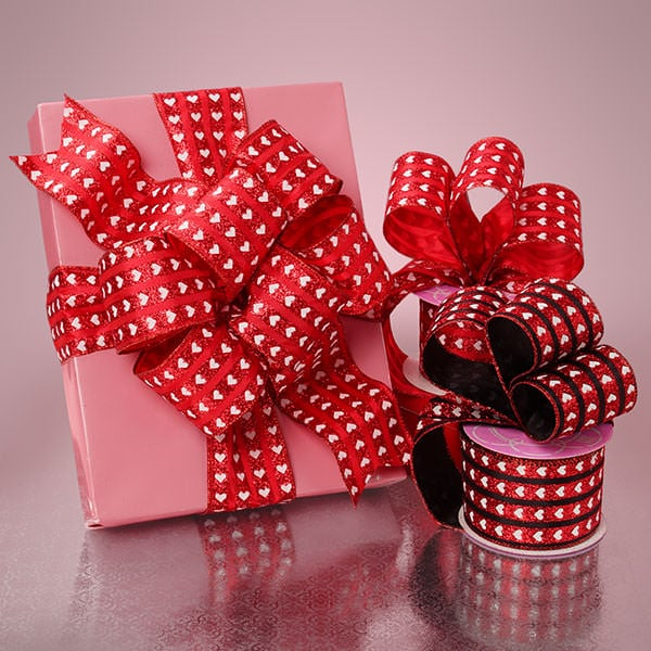 Heart Stripe Satin Ribbon
