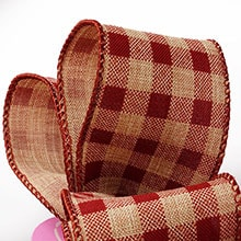 christmas natural wired ribbon collection gingham burlap ribbon - Burlap Christmas Ribbon