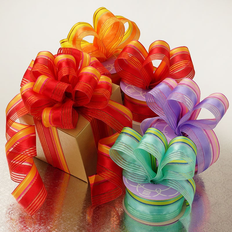 Satin Sheer Multi Colored Striped Wired Ribbon