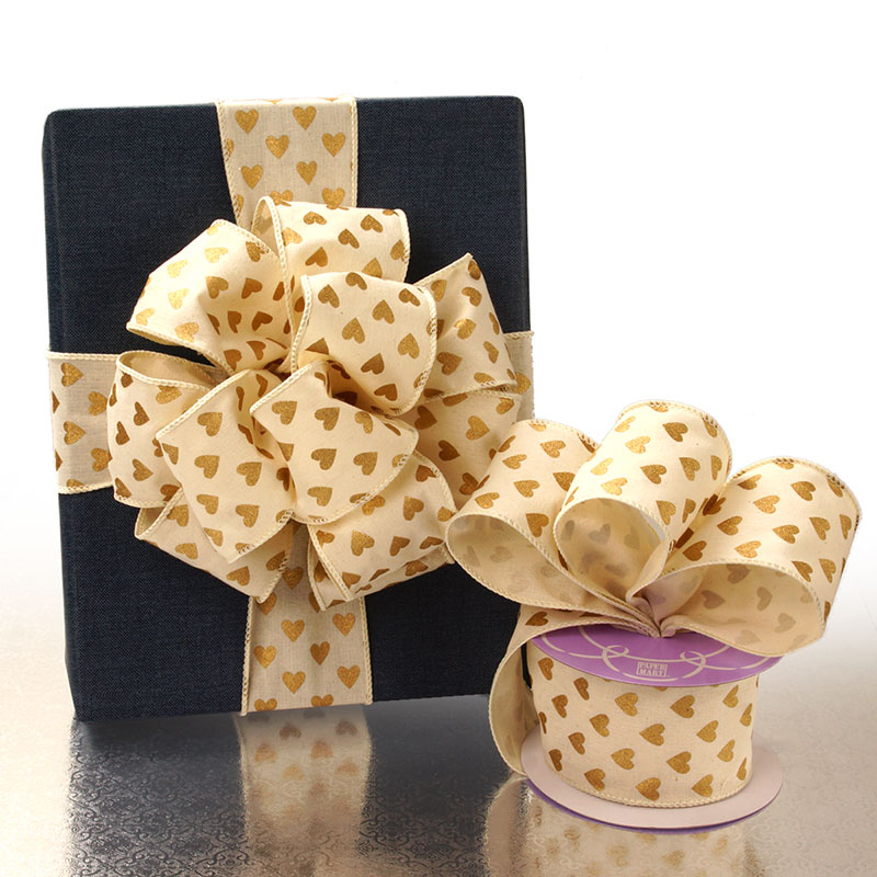 Natural Gold Heart Cotton Wired Ribbon