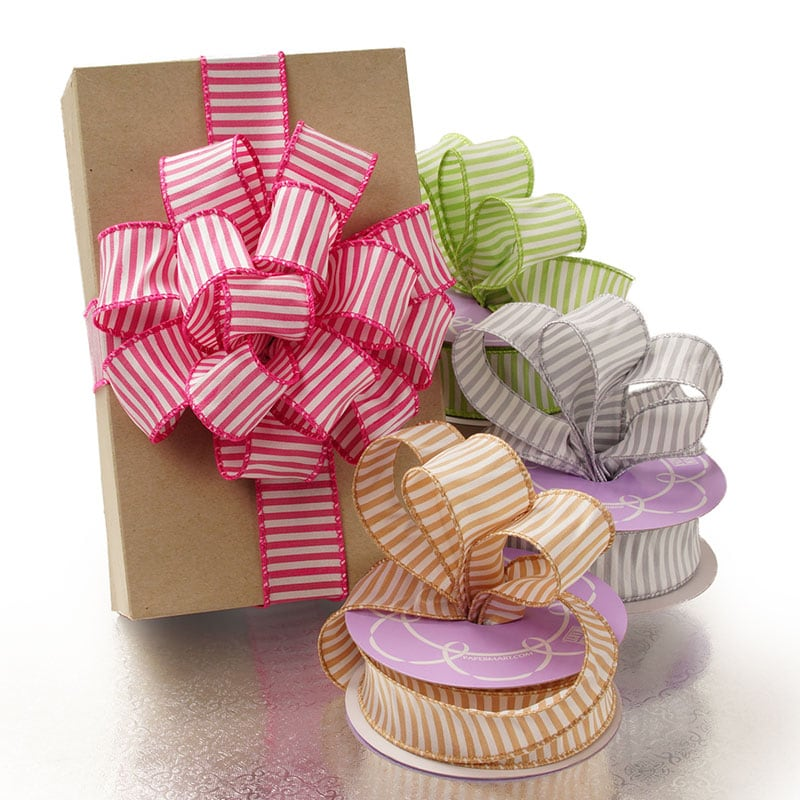 Cotton-Blend Wired Edge Horizontal Striped Ribbon