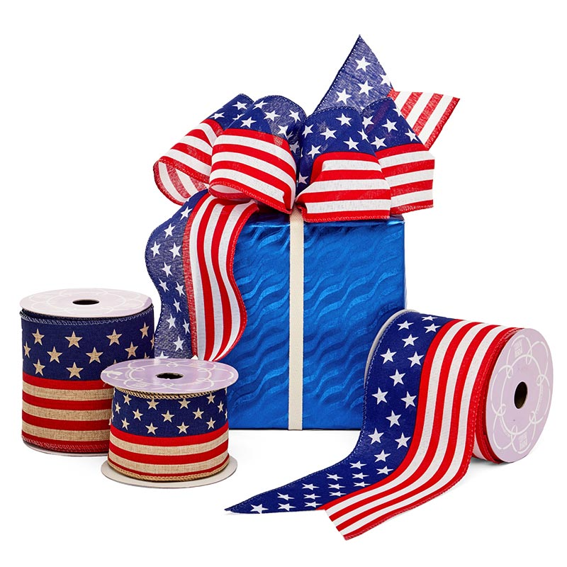 American Flag Wired Ribbon