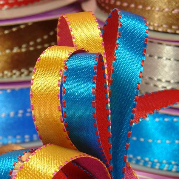 Two Sides Two Colors Side Stitched Satin Ribbons