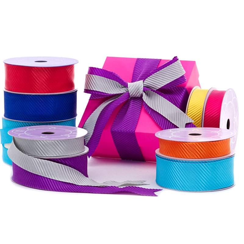 Diagonal Embossed Satin Ribbon