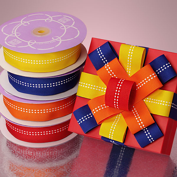 Double Dotted Center Line Grosgrain Ribbon