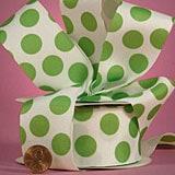 Party-Dot Grosgrain Ribbons - Apple Green