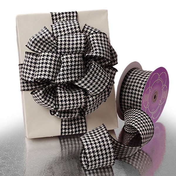Houndstooth Grosgrain Wired Ribbon