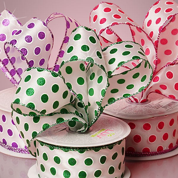 Glitter Polka Dot Satin Ribbon
